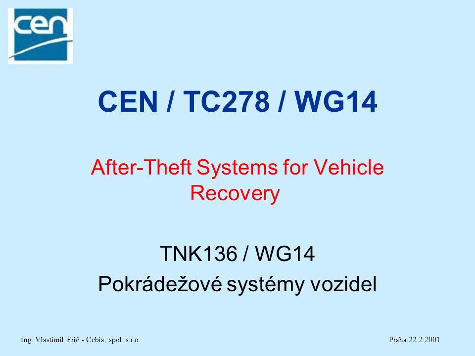 CEN / TC278 / WG14 After-Theft Systems for Vehicle Recovery TNK136 / WG14 Pokrádežové systémy vozidel Praha 22.2.2001Ing.