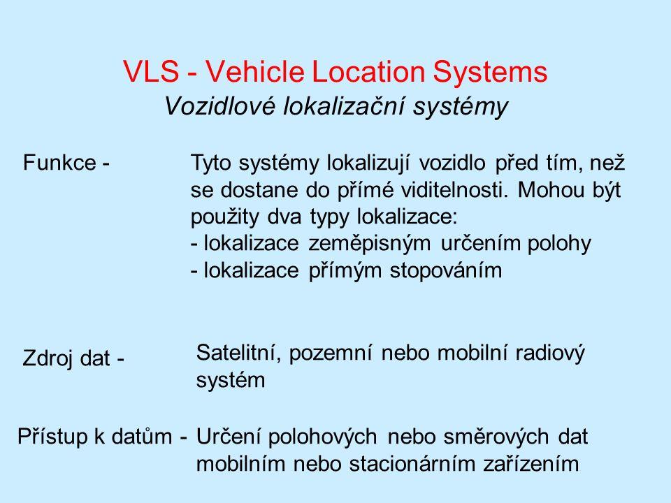 VLS - Vehicle Location Systems Vozidlové lokalizační systémy Funkce -Tyto systémy lokalizují vozidlo před tím, než se dostane do přímé viditelnosti.