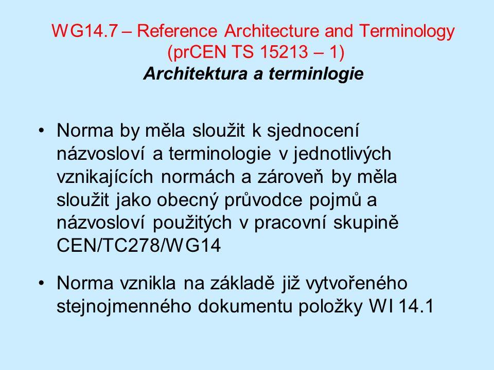 WG14.7 – Reference Architecture and Terminology (prCEN TS 15213 – 1) Architektura a terminlogie Norma by měla sloužit k sjednocení názvosloví a terminologie v jednotlivých vznikajících normách a zároveň by měla sloužit jako obecný průvodce pojmů a názvosloví použitých v pracovní skupině CEN/TC278/WG14 Norma vznikla na základě již vytvořeného stejnojmenného dokumentu položky WI 14.1