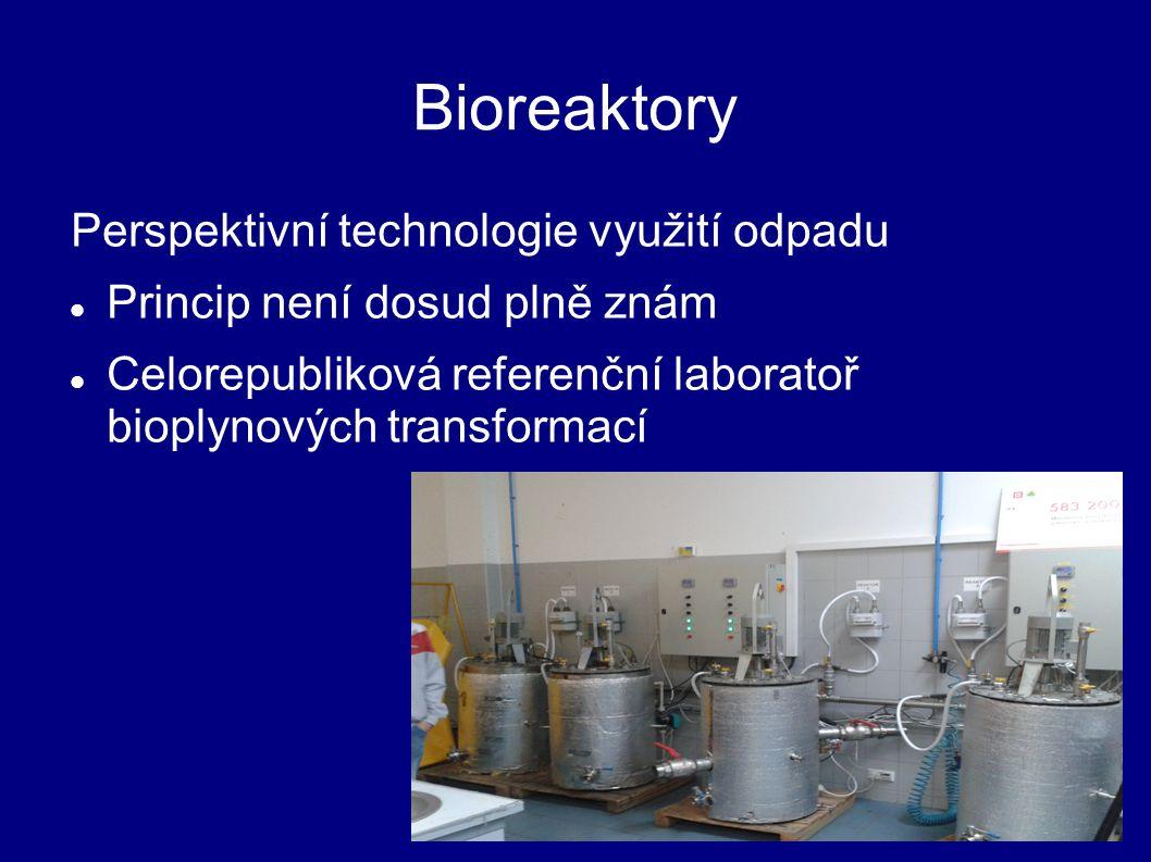 Bioreaktory Perspektivní technologie využití odpadu Princip není dosud plně znám Celorepubliková referenční laboratoř bioplynových transformací