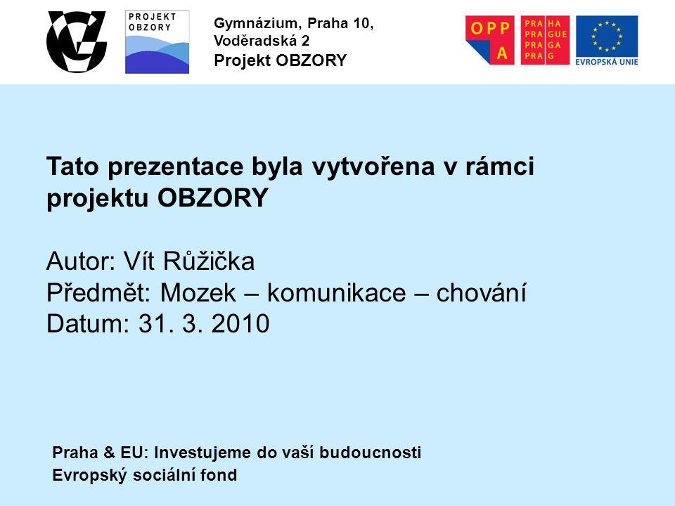 Praha & EU: Investujeme do vaší budoucnosti Evropský sociální fond Gymnázium, Praha 10, Voděradská 2 Projekt OBZORY Tato prezentace byla vytvořena v r