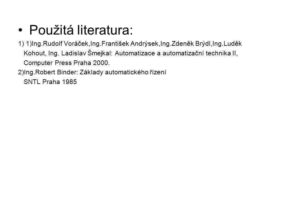 Použitá literatura: 1) 1)Ing.Rudolf Voráček,Ing.František Andrýsek,Ing.Zdeněk Brýdl,Ing.Luděk Kohout, Ing. Ladislav Šmejkal: Automatizace a automatiza