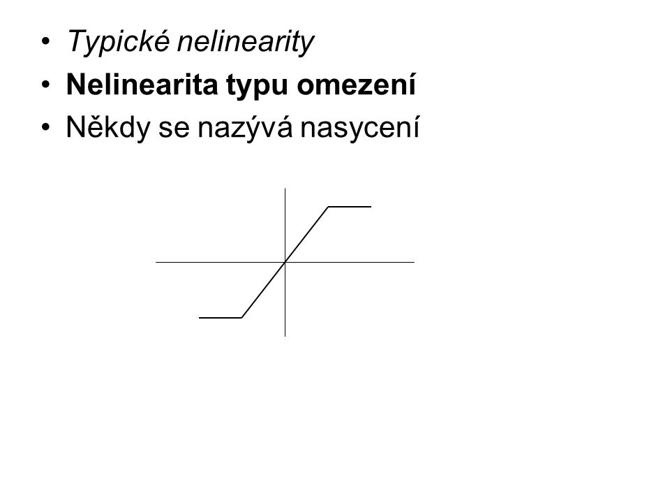 Typické nelinearity Nelinearita typu omezení Někdy se nazývá nasycení