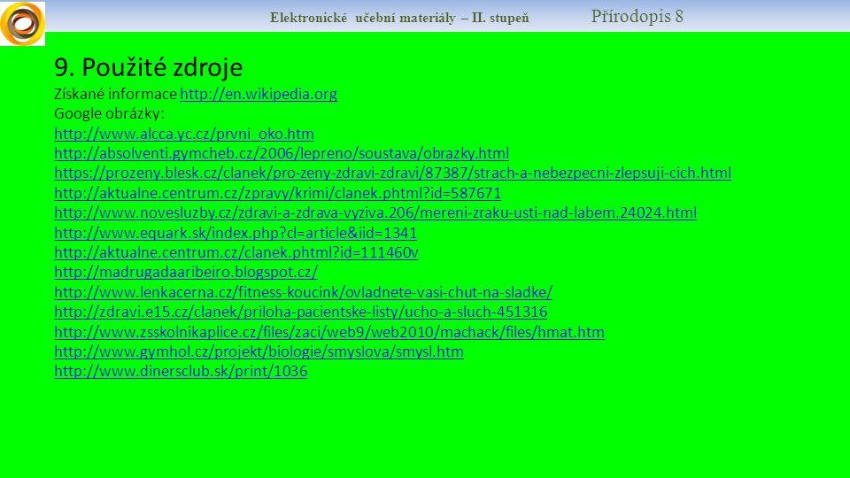 Elektronické učební materiály – II. stupeň Přírodopis 8 9.