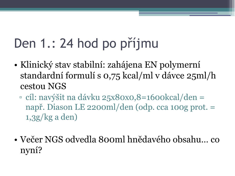 Den 1.: 24 hod po příjmu Klinický stav stabilní: zahájena EN polymerní standardní formulí s 0,75 kcal/ml v dávce 25ml/h cestou NGS ▫cíl: navýšit na dá