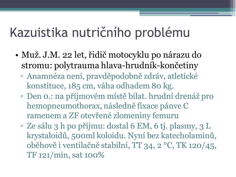 Kazuistika nutričního problému Muž. J.M. 22 let, řidič motocyklu po nárazu do stromu: polytrauma hlava-hrudník-končetiny ▫Anamnéza není, pravděpodobně