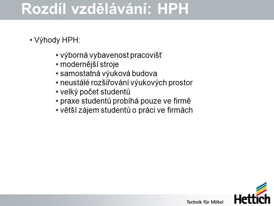 Rozdíl vzdělávání: HPH výborná vybavenost pracovišť modernější stroje samostatná výuková budova neustálé rozšiřování výukových prostor velký počet studentů praxe studentů probíhá pouze ve firmě větší zájem studentů o práci ve firmách Výhody HPH: