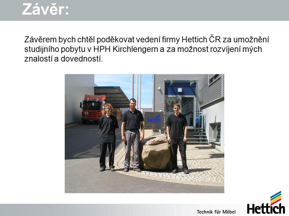 Závěr: Závěrem bych chtěl poděkovat vedení firmy Hettich ČR za umožnění studijního pobytu v HPH Kirchlengern a za možnost rozvíjení mých znalostí a dovedností.