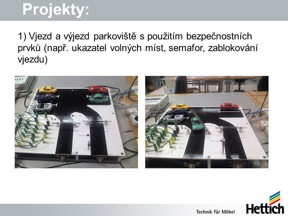 Projekty: 1) Vjezd a výjezd parkoviště s použitím bezpečnostních prvků (např.