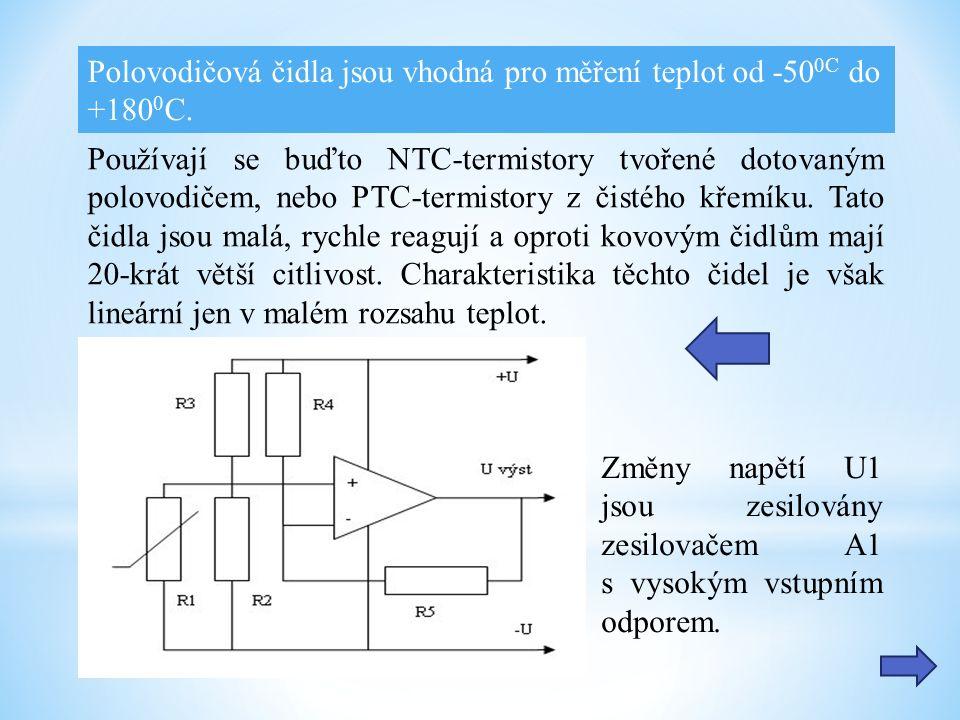Používají se buďto NTC-termistory tvořené dotovaným polovodičem, nebo PTC-termistory z čistého křemíku.