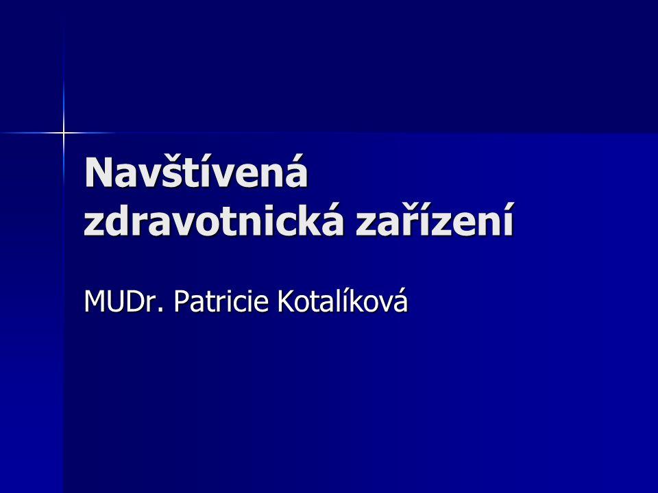Navštívená zdravotnická zařízení MUDr. Patricie Kotalíková