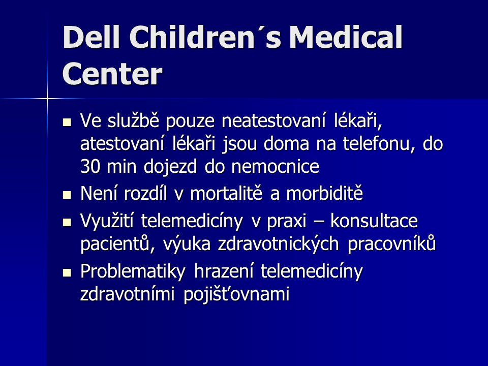 Dell Children´s Medical Center Ve službě pouze neatestovaní lékaři, atestovaní lékaři jsou doma na telefonu, do 30 min dojezd do nemocnice Ve službě pouze neatestovaní lékaři, atestovaní lékaři jsou doma na telefonu, do 30 min dojezd do nemocnice Není rozdíl v mortalitě a morbiditě Není rozdíl v mortalitě a morbiditě Využití telemedicíny v praxi – konsultace pacientů, výuka zdravotnických pracovníků Využití telemedicíny v praxi – konsultace pacientů, výuka zdravotnických pracovníků Problematiky hrazení telemedicíny zdravotními pojišťovnami Problematiky hrazení telemedicíny zdravotními pojišťovnami