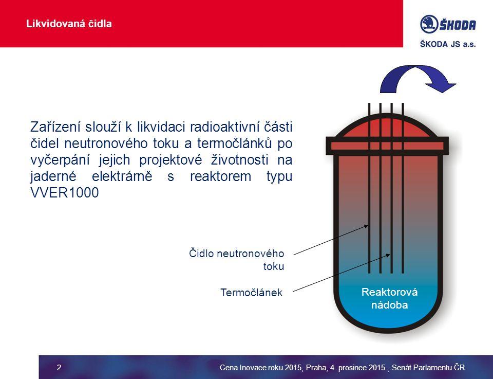 Likvidovaná čidla Čidlo neutronového toku Termočlánek Reaktorová nádoba Zařízení slouží k likvidaci radioaktivní části čidel neutronového toku a termočlánků po vyčerpání jejich projektové životnosti na jaderné elektrárně s reaktorem typu VVER1000 Cena Inovace roku 2015, Praha, 4.