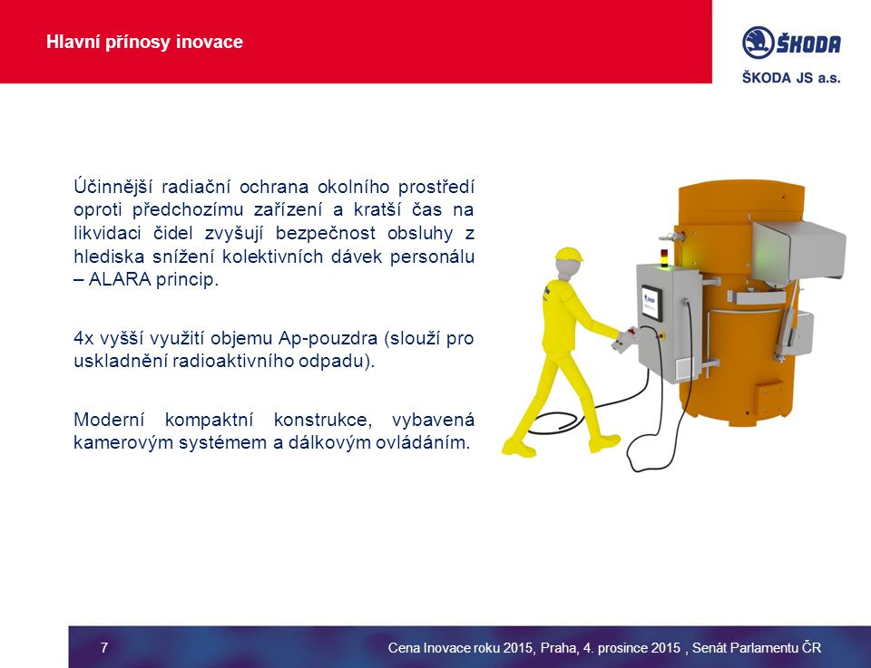 Hlavní přínosy inovace Účinnější radiační ochrana okolního prostředí oproti předchozímu zařízení a kratší čas na likvidaci čidel zvyšují bezpečnost obsluhy z hlediska snížení kolektivních dávek personálu – ALARA princip.