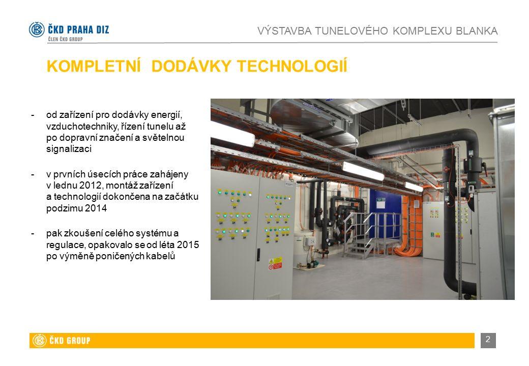 KOMPLETNÍ DODÁVKY TECHNOLOGIÍ -od zařízení pro dodávky energií, vzduchotechniky, řízení tunelu až po dopravní značení a světelnou signalizaci -v prvních úsecích práce zahájeny v lednu 2012, montáž zařízení a technologií dokončena na začátku podzimu 2014 -pak zkoušení celého systému a regulace, opakovalo se od léta 2015 po výměně poničených kabelů VÝSTAVBA TUNELOVÉHO KOMPLEXU BLANKA 2