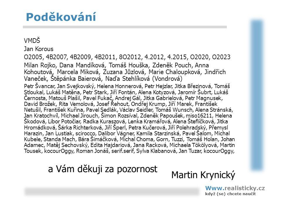 Poděkování VMDŠ Jan Korous O2005, 4B2007, 4B2009, 4B2011, 8O2012, 4.2012, 4.2015, O2020, O2023 Milan Rojko, Dana Mandíková, Tomáš Houška, Zdeněk Pouch