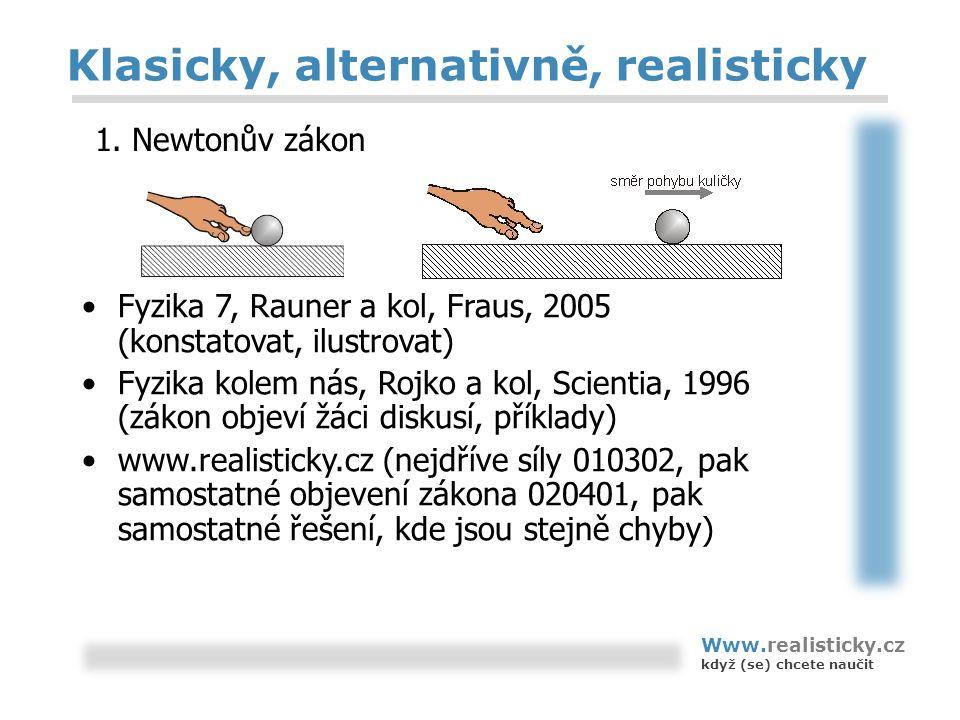 Klasicky, alternativně, realisticky Fyzika 7, Rauner a kol, Fraus, 2005 (konstatovat, ilustrovat) Fyzika kolem nás, Rojko a kol, Scientia, 1996 (zákon