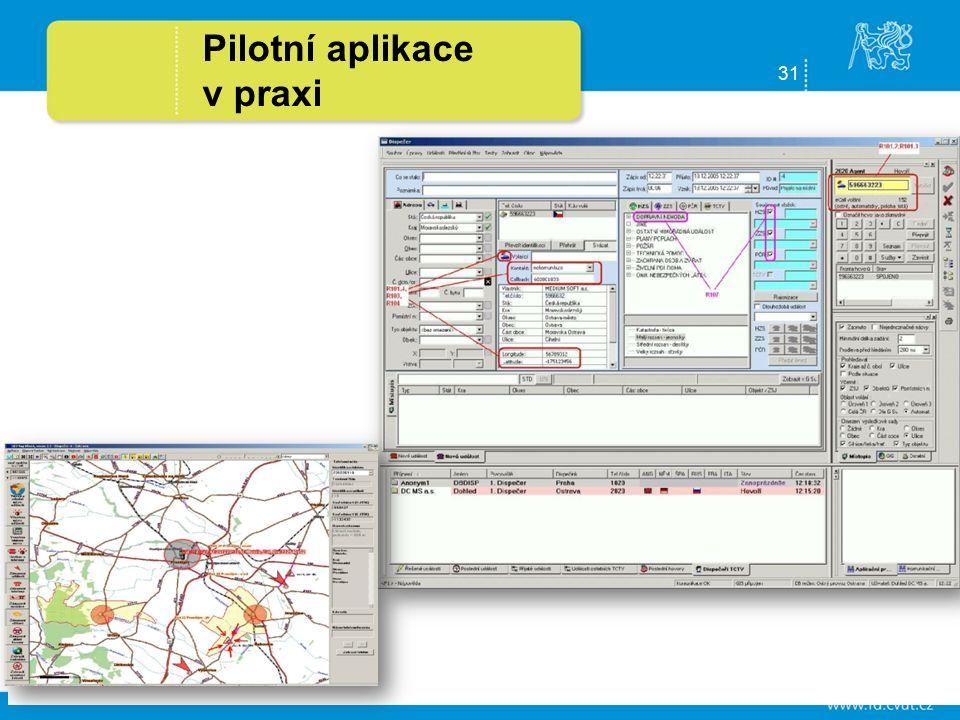 31 Pilotní aplikace v praxi Automatický systém tísňového volání eCall