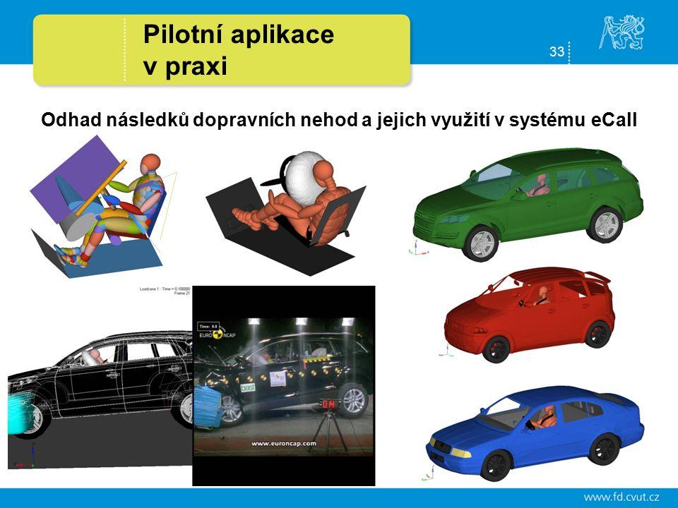 33 Pilotní aplikace v praxi Odhad následků dopravních nehod a jejich využití v systému eCall