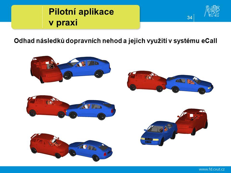 34 Pilotní aplikace v praxi Odhad následků dopravních nehod a jejich využití v systému eCall