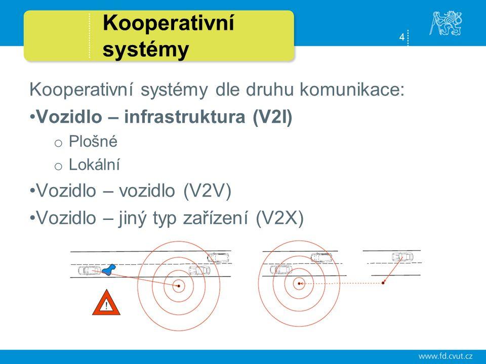 4 Kooperativní systémy Kooperativní systémy dle druhu komunikace: Vozidlo – infrastruktura (V2I) o Plošné o Lokální Vozidlo – vozidlo (V2V) Vozidlo – jiný typ zařízení (V2X)