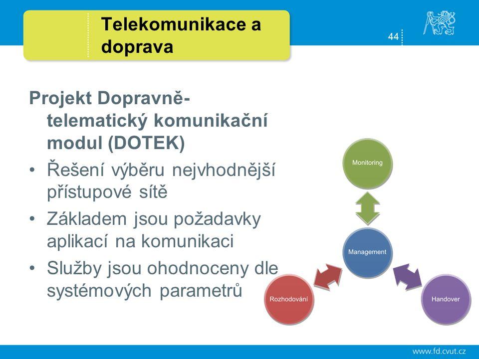 44 Telekomunikace a doprava Projekt Dopravně- telematický komunikační modul (DOTEK) Řešení výběru nejvhodnější přístupové sítě Základem jsou požadavky aplikací na komunikaci Služby jsou ohodnoceny dle systémových parametrů