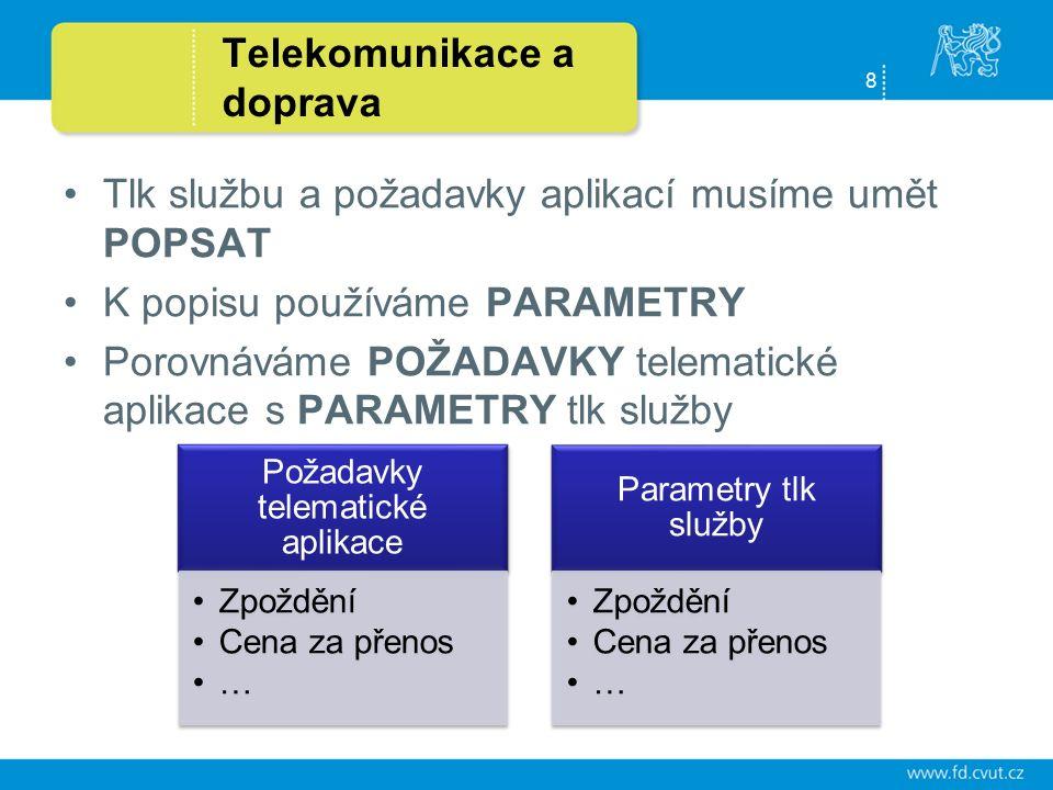 8 Telekomunikace a doprava Tlk službu a požadavky aplikací musíme umět POPSAT K popisu používáme PARAMETRY Porovnáváme POŽADAVKY telematické aplikace s PARAMETRY tlk služby Požadavky telematické aplikace Zpoždění Cena za přenos … Parametry tlk služby Zpoždění Cena za přenos …