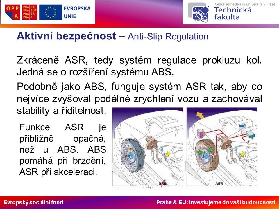Evropský sociální fond Praha & EU: Investujeme do vaší budoucnosti Aktivní bezpečnost – Anti-Slip Regulation Zkráceně ASR, tedy systém regulace prokluzu kol.