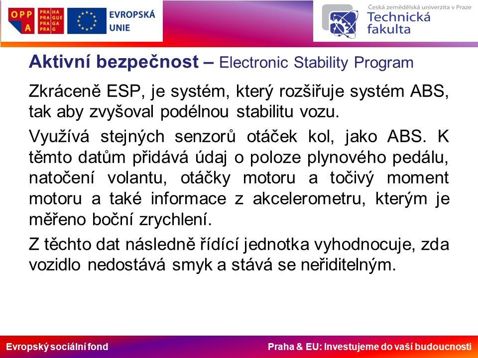 Evropský sociální fond Praha & EU: Investujeme do vaší budoucnosti Aktivní bezpečnost – Electronic Stability Program Zkráceně ESP, je systém, který rozšiřuje systém ABS, tak aby zvyšoval podélnou stabilitu vozu.