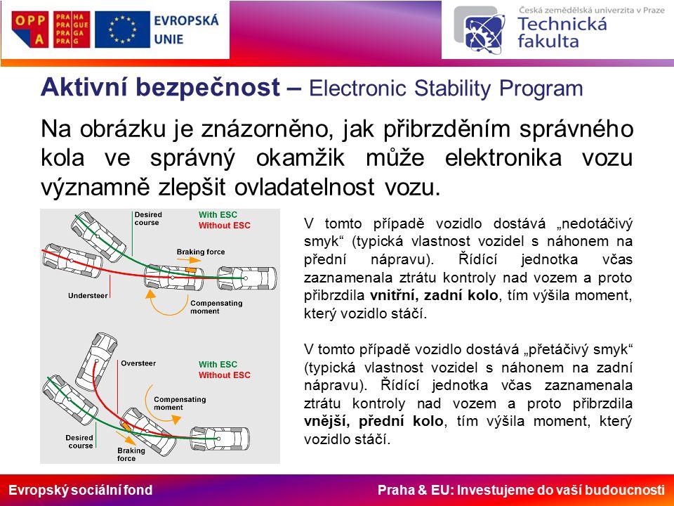 Evropský sociální fond Praha & EU: Investujeme do vaší budoucnosti Aktivní bezpečnost – Electronic Stability Program Na obrázku je znázorněno, jak přibrzděním správného kola ve správný okamžik může elektronika vozu významně zlepšit ovladatelnost vozu.