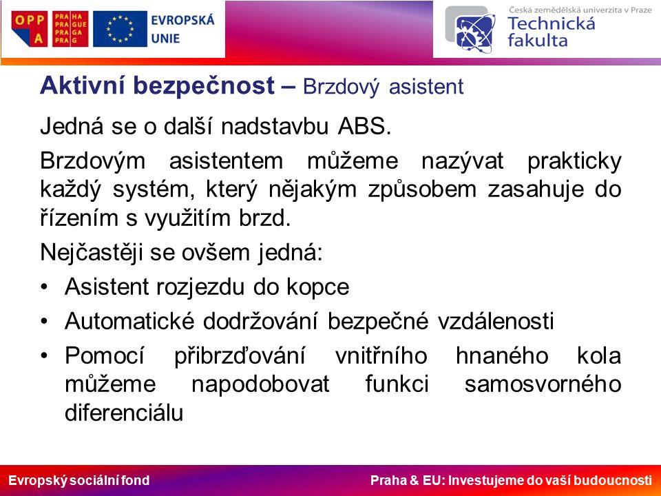 Evropský sociální fond Praha & EU: Investujeme do vaší budoucnosti Aktivní bezpečnost – Brzdový asistent Jedná se o další nadstavbu ABS.