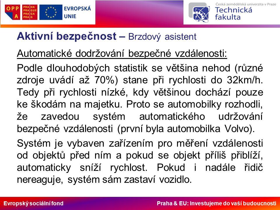 Evropský sociální fond Praha & EU: Investujeme do vaší budoucnosti Aktivní bezpečnost – Brzdový asistent Automatické dodržování bezpečné vzdálenosti: Podle dlouhodobých statistik se většina nehod (různé zdroje uvádí až 70%) stane při rychlosti do 32km/h.