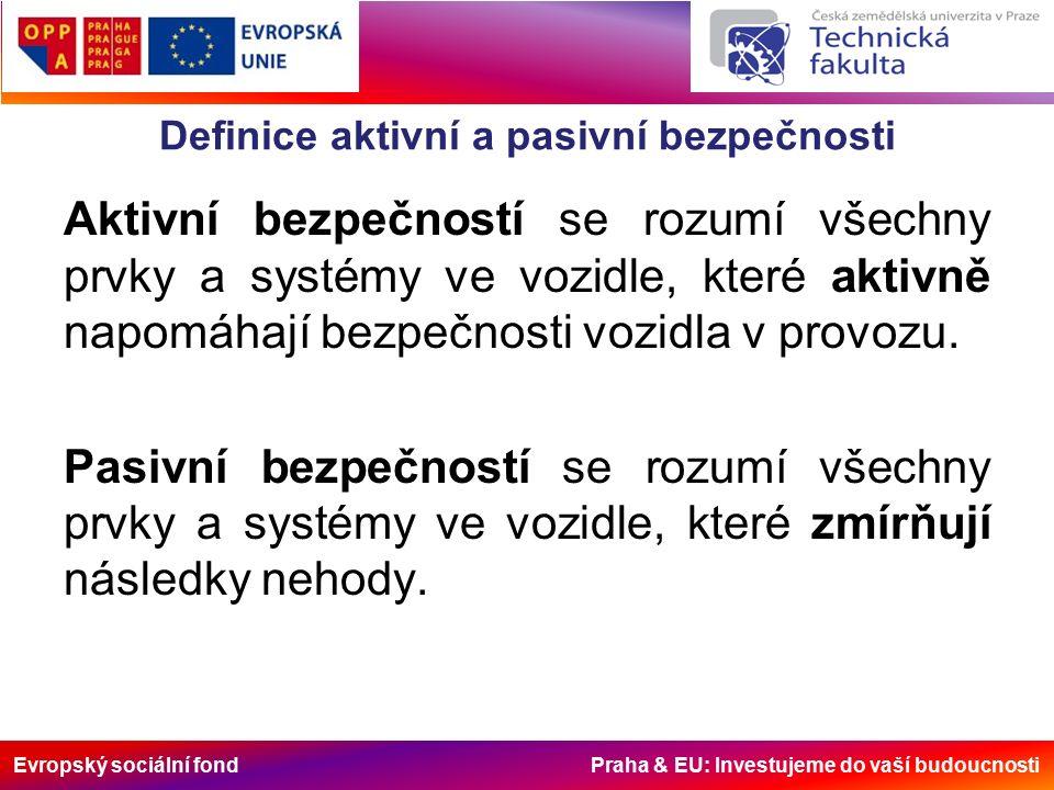 Evropský sociální fond Praha & EU: Investujeme do vaší budoucnosti Definice aktivní a pasivní bezpečnosti Aktivní bezpečností se rozumí všechny prvky a systémy ve vozidle, které aktivně napomáhají bezpečnosti vozidla v provozu.