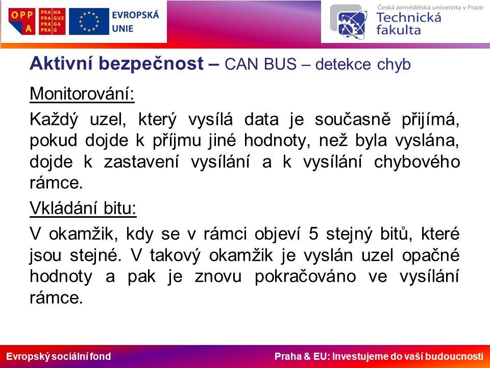 Evropský sociální fond Praha & EU: Investujeme do vaší budoucnosti Aktivní bezpečnost – CAN BUS – detekce chyb Monitorování: Každý uzel, který vysílá data je současně přijímá, pokud dojde k příjmu jiné hodnoty, než byla vyslána, dojde k zastavení vysílání a k vysílání chybového rámce.