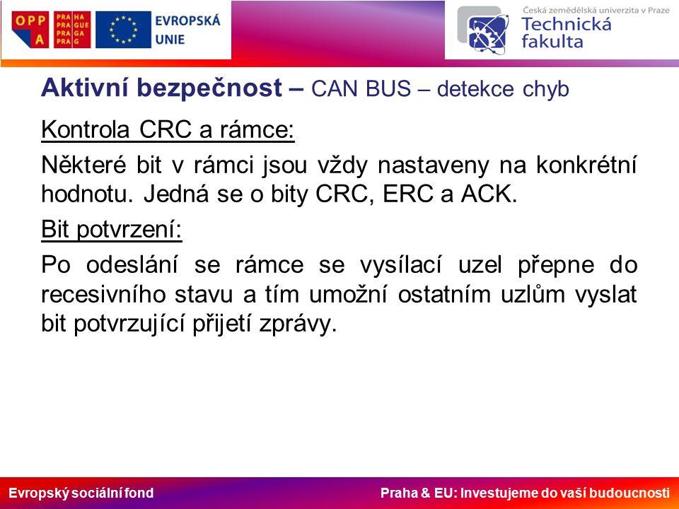 Evropský sociální fond Praha & EU: Investujeme do vaší budoucnosti Aktivní bezpečnost – CAN BUS – detekce chyb Kontrola CRC a rámce: Některé bit v rámci jsou vždy nastaveny na konkrétní hodnotu.