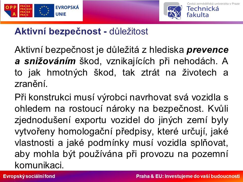 Evropský sociální fond Praha & EU: Investujeme do vaší budoucnosti Aktivní bezpečnost - důležitost Aktivní bezpečnost je důležitá z hlediska prevence a snižováním škod, vznikajících při nehodách.