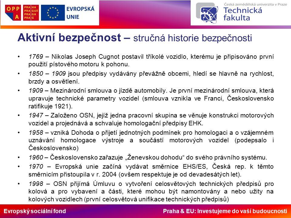 Evropský sociální fond Praha & EU: Investujeme do vaší budoucnosti Aktivní bezpečnost – stručná historie bezpečnosti 1769 – Nikolas Joseph Cugnot postavil tříkolé vozidlo, kterému je připisováno první použití pístového motoru k pohonu.