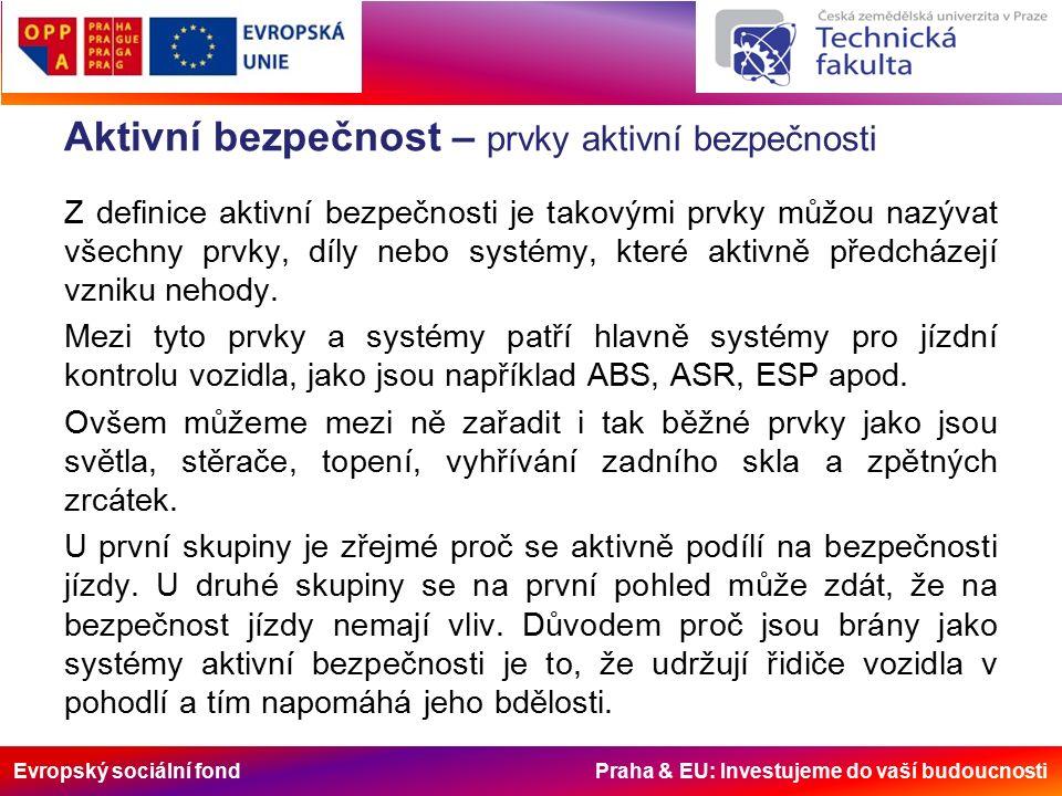 Evropský sociální fond Praha & EU: Investujeme do vaší budoucnosti Aktivní bezpečnost – prvky aktivní bezpečnosti Z definice aktivní bezpečnosti je takovými prvky můžou nazývat všechny prvky, díly nebo systémy, které aktivně předcházejí vzniku nehody.
