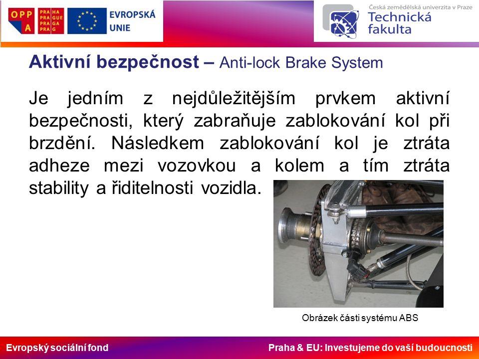 Evropský sociální fond Praha & EU: Investujeme do vaší budoucnosti Aktivní bezpečnost – Anti-lock Brake System Princip fungování ABS je takový, že ke každému kolu je připevněn ozubený kotouč.