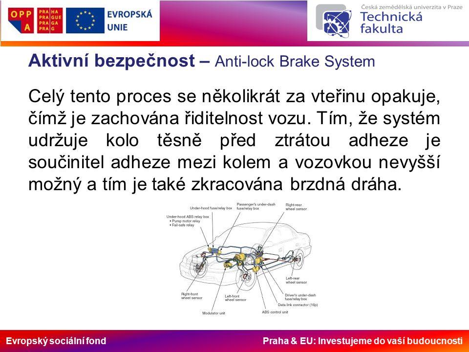 Evropský sociální fond Praha & EU: Investujeme do vaší budoucnosti Aktivní bezpečnost – Další systémy Automobilky do svých vozů zavádějí mnoho více či méně funkčních systémů.