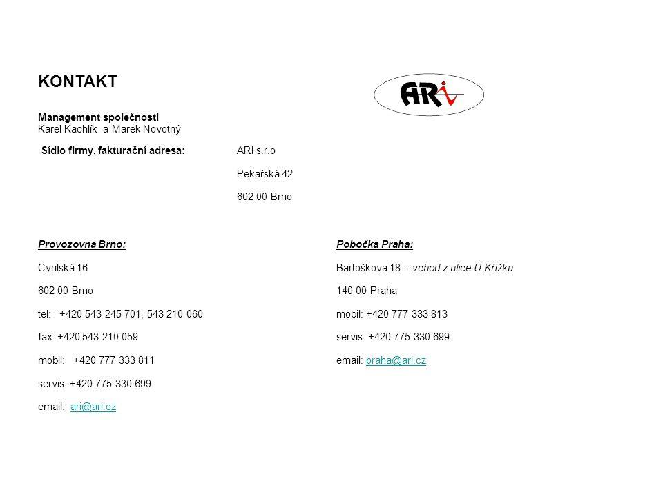 Sídlo firmy, fakturační adresa:ARI s.r.o Pekařská 42 602 00 Brno Provozovna Brno: Cyrilská 16 602 00 Brno tel: +420 543 245 701, 543 210 060 fax: +420