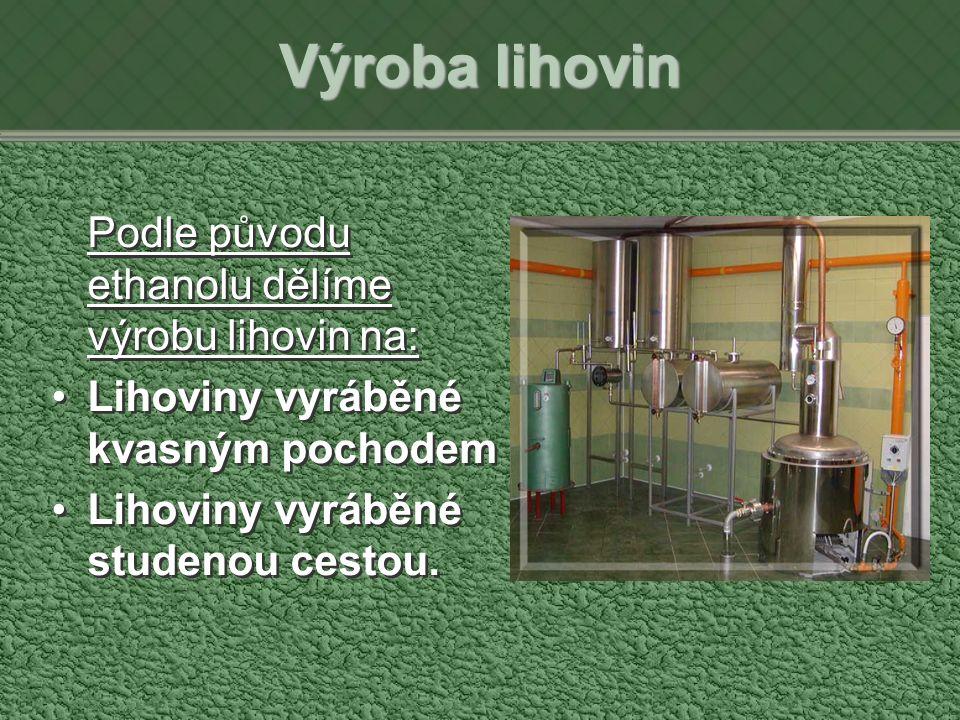 Výroba lihovin Podle původu ethanolu dělíme výrobu lihovin na: Lihoviny vyráběné kvasným pochodem Lihoviny vyráběné studenou cestou.