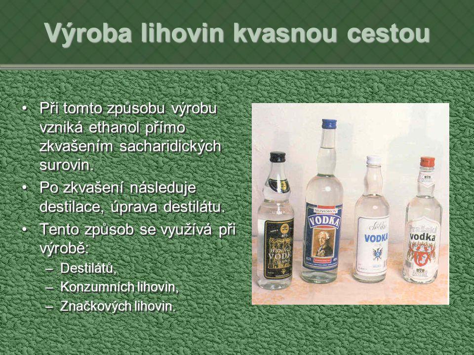 Výroba lihovin kvasnou cestou Při tomto způsobu výrobu vzniká ethanol přímo zkvašením sacharidických surovin.