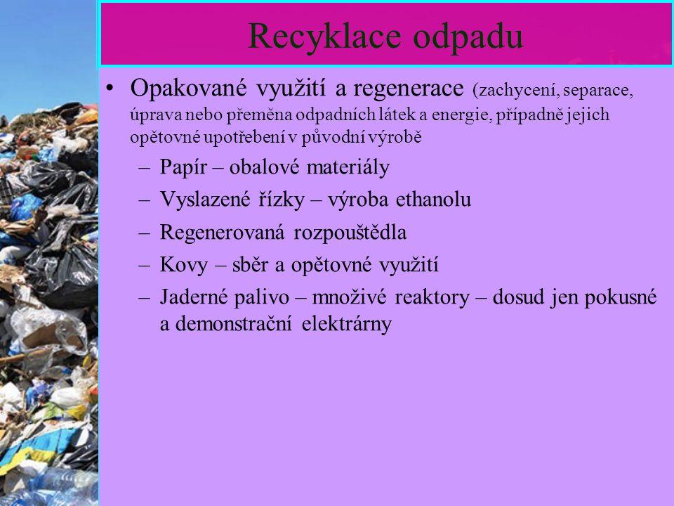 14 Recyklace odpadu Opakované využití a regenerace (zachycení, separace, úprava nebo přeměna odpadních látek a energie, případně jejich opětovné upotřebení v původní výrobě –Papír – obalové materiály –Vyslazené řízky – výroba ethanolu –Regenerovaná rozpouštědla –Kovy – sběr a opětovné využití –Jaderné palivo – množivé reaktory – dosud jen pokusné a demonstrační elektrárny