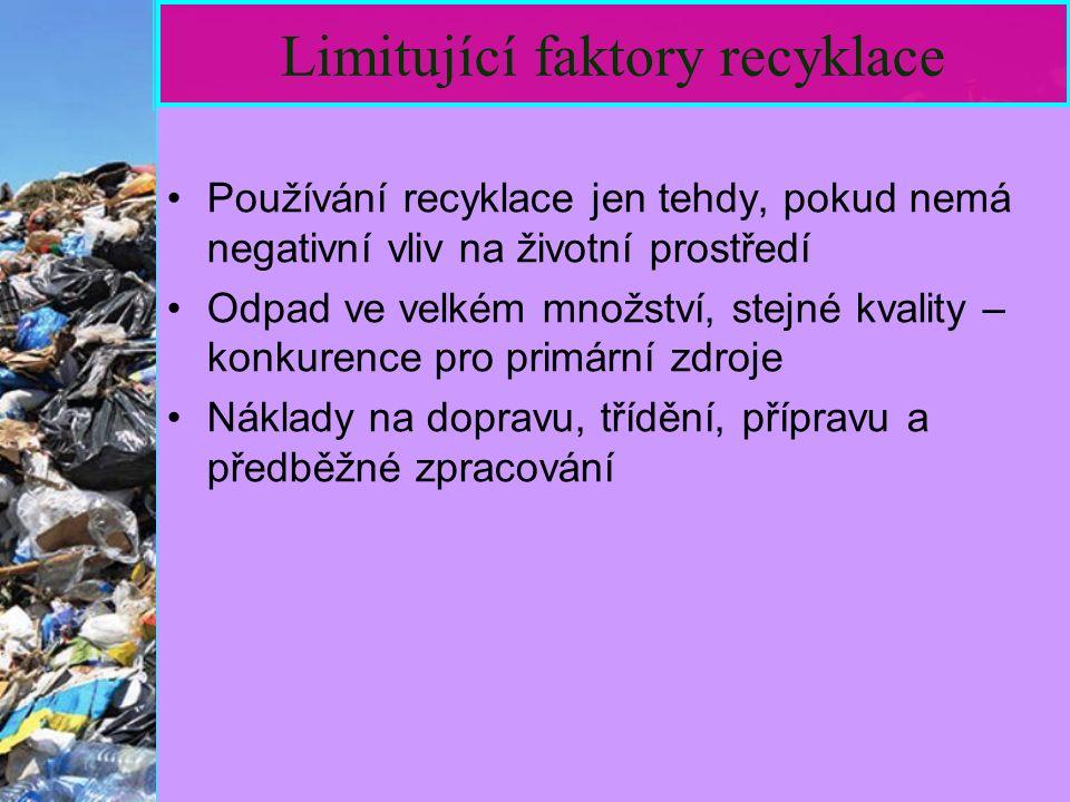 18 Limitující faktory recyklace Používání recyklace jen tehdy, pokud nemá negativní vliv na životní prostředí Odpad ve velkém množství, stejné kvality – konkurence pro primární zdroje Náklady na dopravu, třídění, přípravu a předběžné zpracování