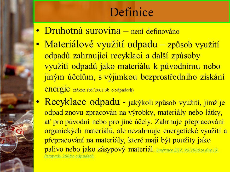 3 Definice Předcházení vzniku - Opatření přijatá předtím, než se látka, materiál nebo výrobek staly odpadem, která omezují: –a) množství odpadu, a to i prostřednictvím opětovného použití výrobků nebo prodloužením životnosti výrobků; –b) nepříznivé dopady vzniklého odpadu na životní prostředí a lidské zdraví nebo –c) obsah škodlivých látek v materiálech a výrobcích; (Směrnice Evropského parlamentu a Rady č.