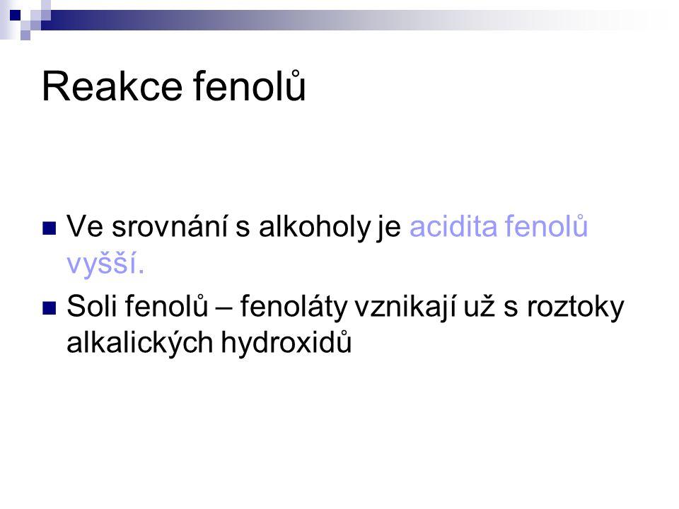 Reakce fenolů Ve srovnání s alkoholy je acidita fenolů vyšší.