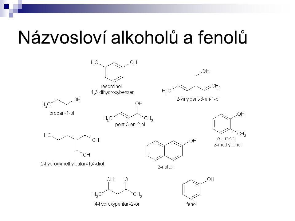 Názvosloví alkoholů a fenolů