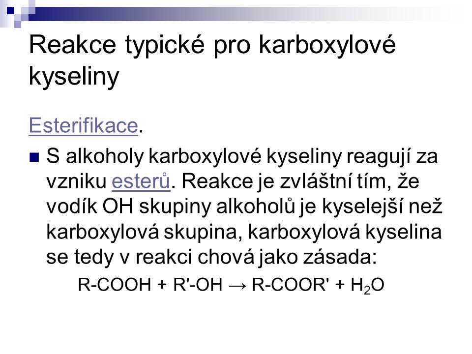 Reakce typické pro karboxylové kyseliny EsterifikaceEsterifikace.