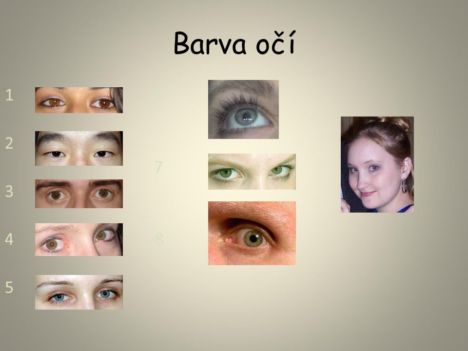 Barva očí 1 6 2 7 9 3 4 8 5